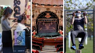 A three picture composite of a hairdresser works in London on 18 March 2020, a deserted Coliseum Theatre in London on 11 June 2020 and person uses outdoor gym in Clapham on 24 March 2020