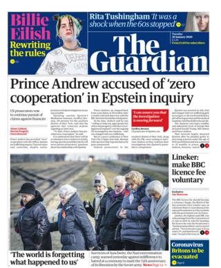 Tuesday's Guardian front page