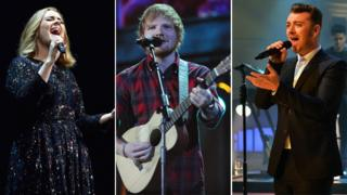 Adele, Ed Sheeran and Sam Smith