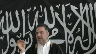 A screen shot showing Mundhir Abdallah give his sermon in Copenhagen in March