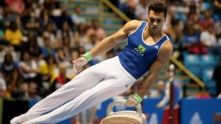 Petrix Steven Aguiar Barbosa of Brazil competes on the Pommel Horse during day two of the Gymnastics World Challenge Cup Brazil 2015 at Ibirapuera Gymnasium on May 3, 2015 in Sao Paulo, Brazil.