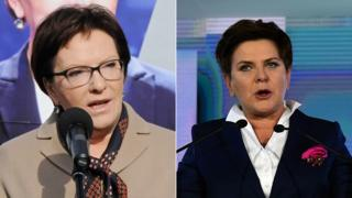 Candidates for Polish prime minister, Ewa Kopacz (left) and Beata Szydlo (right) - 24 October 2015