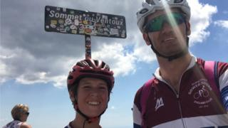Phil Walton and his daughter Kitty at the summit of Mont Ventoux