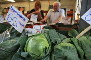 Cabbages for sale in a shop