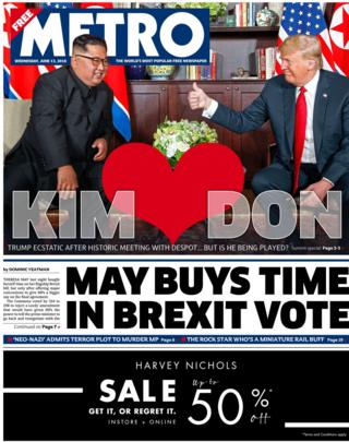 Metro front page