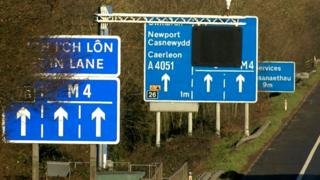 M4 road signs