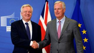 David Davis shakes hands with Michel Barnier