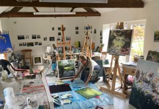 Lisa Timmerman in her art studio in Foxton, Market Harborough