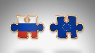 Европа и Россия в форме частей головоломки