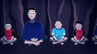 Illustraton - Coach Ake teaches the boys to meditate