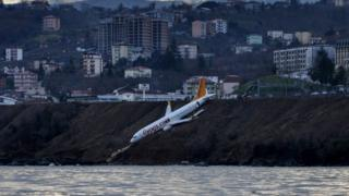 El avión de Pegasus Airlines accidentado