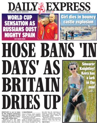 Daily Express front page - 02/07/18