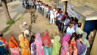 Voters line up in Uttar Pradesh state