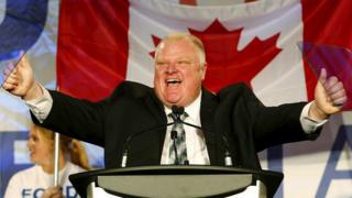 2014 file image of Toronto Mayor Rob Ford during his campaign launch party in Toronto