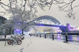 Newcastle Quayside following heavy overnight snowfall.