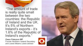 Owen Paterson saying: The amount of trade is really quite small between the two countries: the Republic of Ireland and the UK. It's 5% of Northern Ireland's exports - it's 1.6% of the Republic of Ireland's exports.
