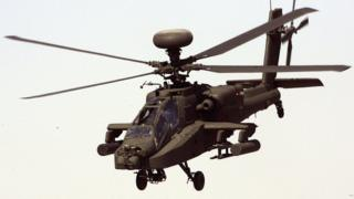 A Boeing Apache helicopter.