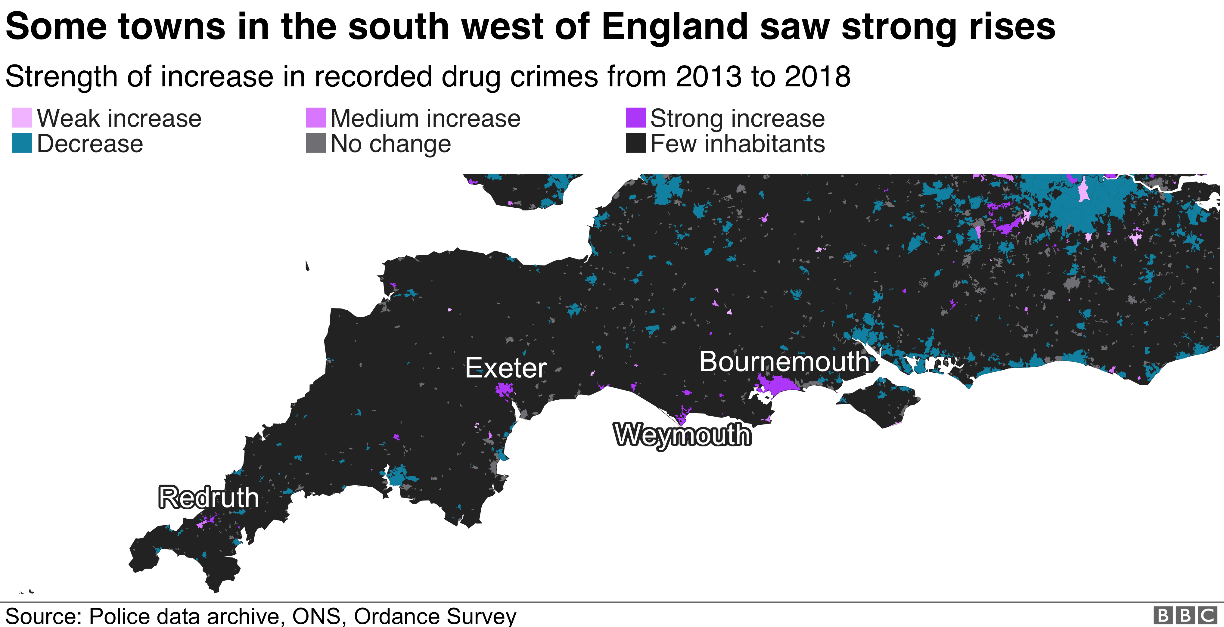 Map showing drug crimes in the south west