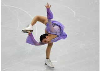 Photograph taken on 2 April 2016 showing Mao Asada performing during the ladies free skate competition at the ISU World Figure Skating Championships in Boston, USA.