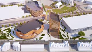 An architect illustration of Swansea Central Phase One looking from south to north with the arena in the foreground