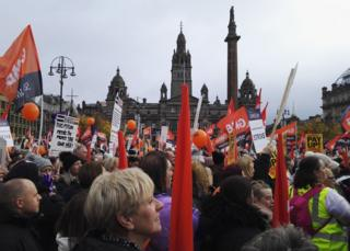 Strikers in George Square