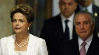 President Dilma Rousseff and Vice-President Michel Temer arrive to announce reforms at Planalto presidential palace in Brasilia on 2 October, 2015.