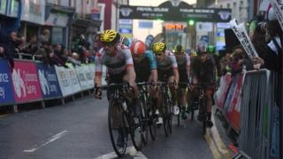 Cyclists in the Aberystwyth leg of the Pearl Izumi UK Tour Series