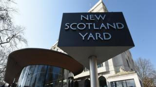 New Scotland Yard sign outside the new Metropolitan Police Headquarters New Scotland Yard at The Curtis Green Building,