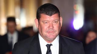 James Packer of Crown Resorts leaves after attending the Crown Resorts annual general meeting on October 26, 2017