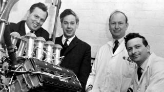 Cosworth founders Keith Duckworth (second left) and Mike Costin (third left) are pictured in the 1950s with colleagues Bill Brown and Ben Rood