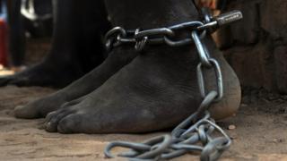 Leg shackles in South Sudan, 2014