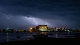 in_pictures Lightning above Devonshire Dock Hall in Barrow-in-Furness