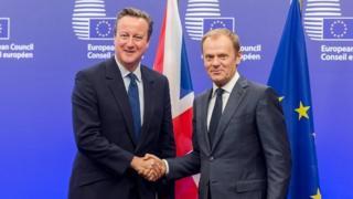 David Cameron and Donald Tusk at an EU summit