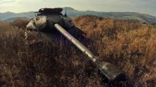 色丹島是北方四島之一,島上的IS-3坦克。