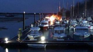 Hayling Island boat fire