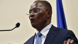 Jocelerme Privert at the National Palace in Port-au-Prince, Haiti, 30 May 2016