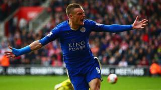 Jamie Vardy celebrates scoring a goal