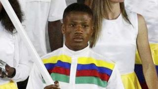 Jonas Junius of Namibia led his contingent during the opening ceremony in Rio