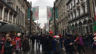 Fans in Cardiff city centre ahead of the Wales v England kick off