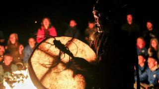 Siberian shaman with drum