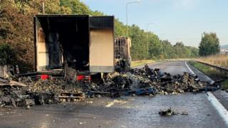 Lorry fire on A1M