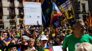 Catalan Independence supporters attend a demonstration of Catalan mayors in Barcelona, Spain, 16 September