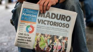 """una portada de un diario el 21 de mayo en Venezuela con el titular: """"Maduro victorioso""""."""