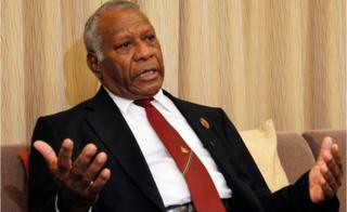 March 2015 file photo of Vanuatu President Baldwin Lonsdale during an interview in his hotel room in Sendai, Miyagi prefecture, north-eastern Japan