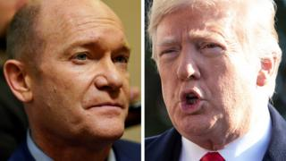 Composite image of Chris Coons and Donald Trump