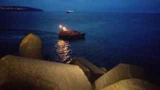 Douglas lifeboat off Douglas breakwater
