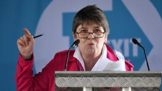 Claire Fox speaking at a Brexit Party event
