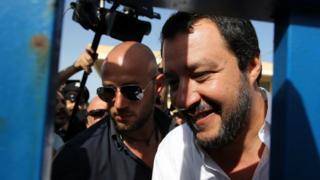 シチリア島を訪れたイタリアのマッテオ・サルビーニ内相