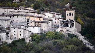 Collapsed buildings are seen following an earthquake in Campi Alto near Norcia, Italy, October 30, 2016