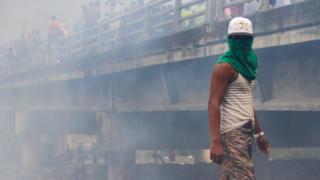 Manifestante na Venezuela